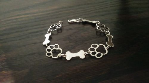 Paw and bone bracelet solid sterling silver